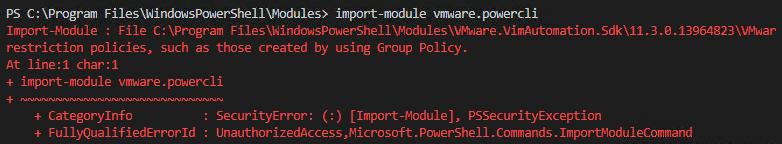Error when running Import-Module