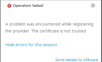 Cannot add 3PAR storage provider because of certification error